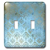 3dRose Uta Naumann Faux Glitter Pattern - Image of Sky Blue and Gold Metal Foil Vintage Grunge Luxury Damask Pattern - Light Switch Covers - double toggle switch (lsp_290169_2)
