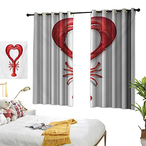 Bedroom Curtains W72 x L45 Sea Animals,A Boiled Lobster Shaped as A Heart Symbol Seafood Love Valentines Restaurant Menu Art,Red Curtains 2 Panel Set for