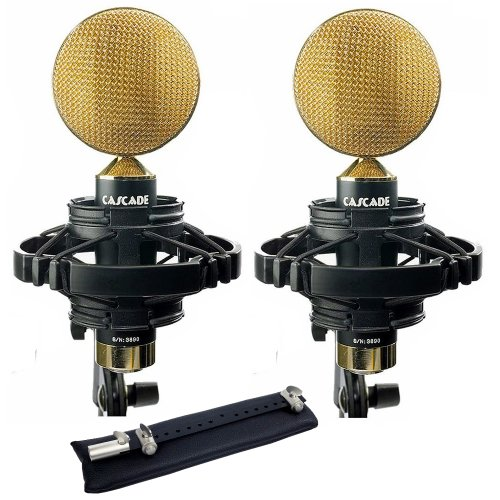 Cascade Microphones FAT HEAD II Blumlein-L, Stereo Pair, Black/Gold by Cascade Microphones