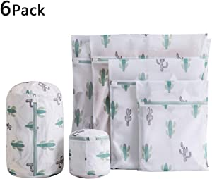 6 Pack Cactus Mesh Laundry Bags for Delicates, Premium Travel Storage Organizer Bag, Reusable Durable Clothing Washing Bags for Lingerie Blouse Bra Hosiery Underwear in Washing Machine and Drier
