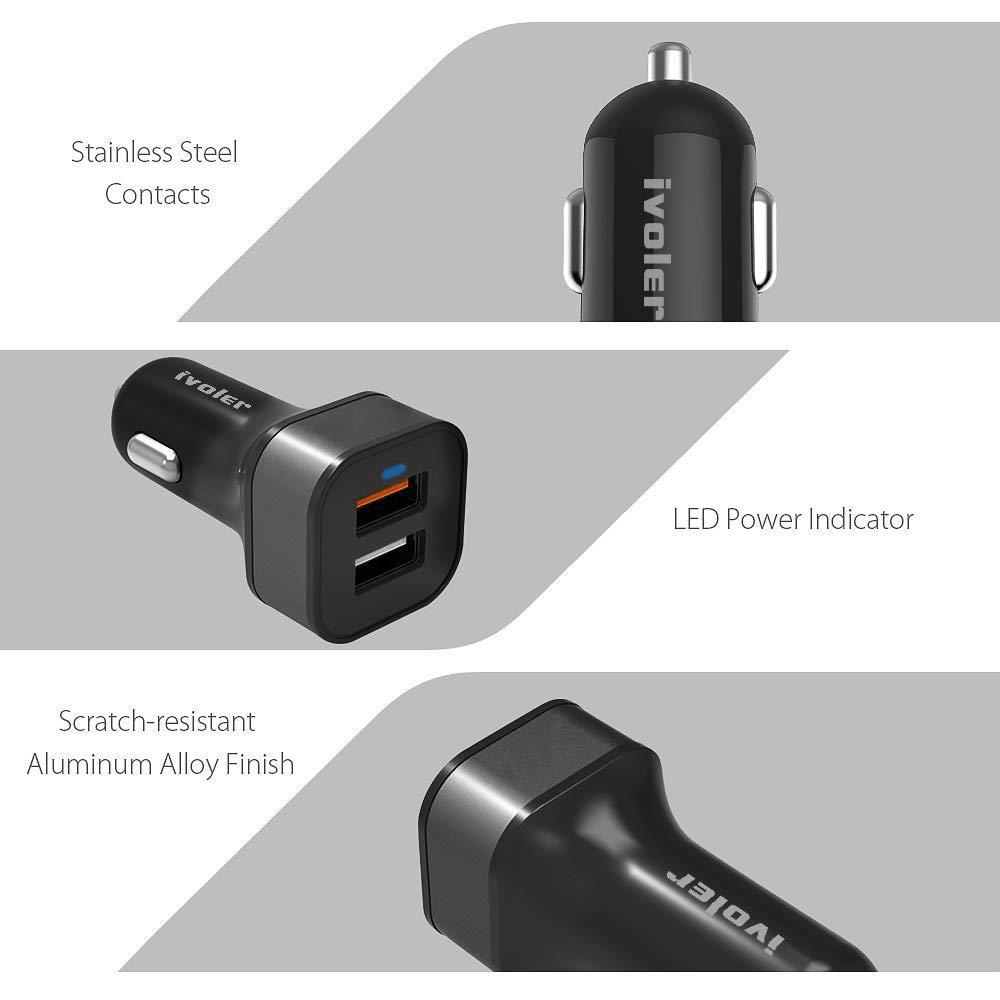 QC 3.0 Puerto + Qsmart Puerto 5V//2.4A Cargador Portatil Tableta con 2 en 1 Cable de Micro USB y Tipo C para M/óviles iVoler Quick Charge 3.0 30W 2 Puertos USB Cargador de Coche - Negro//Oro etc