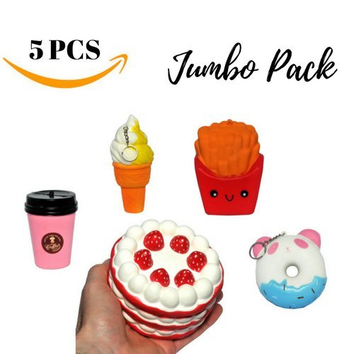 Jumbo Squishie Set For Kids & Adults - Fun, Soft, Slow Rising, Sweet Scented Cute Squishy Large Food Toys For Stress Relief & Improved Focus - Healthy & Eco-Friendly Kawaii Toy Squishies - 5 Pack
