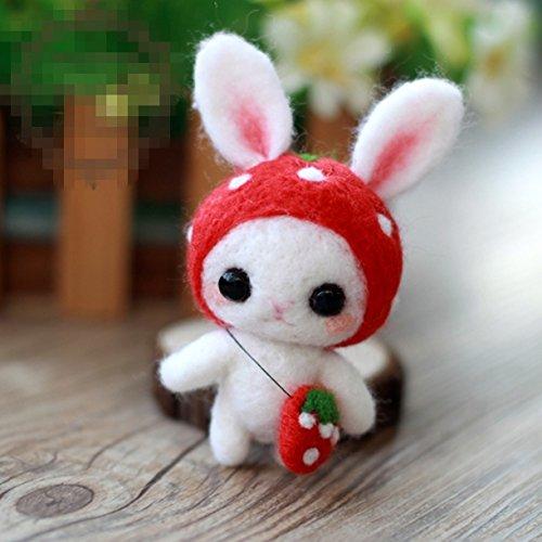 WellieSTR Natural Wool Roving Needlecrafts Needle Felted Felting Character Starter Kit: Lovely Big ears strawberry rabbit