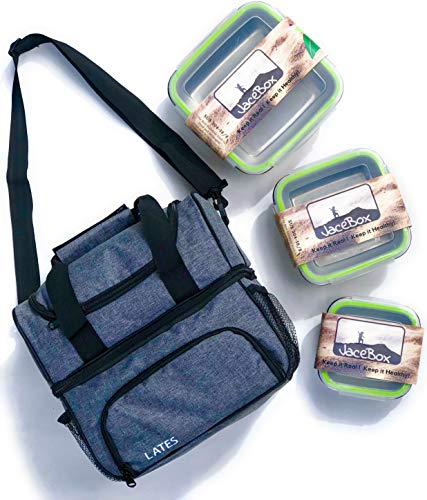 - JaceBox Lunch Bag Set - Insulated Lunch Tote With Square Stainless Steel Containers LeakProof with Removable Straps By JaceBox