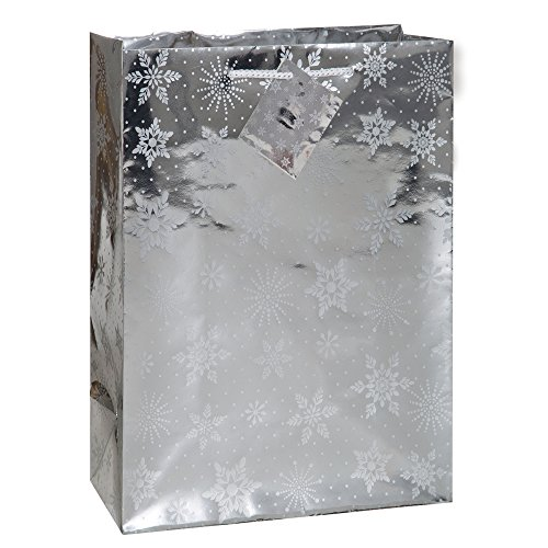 Jumbo Silver Snowflakes Holiday Gift Bag