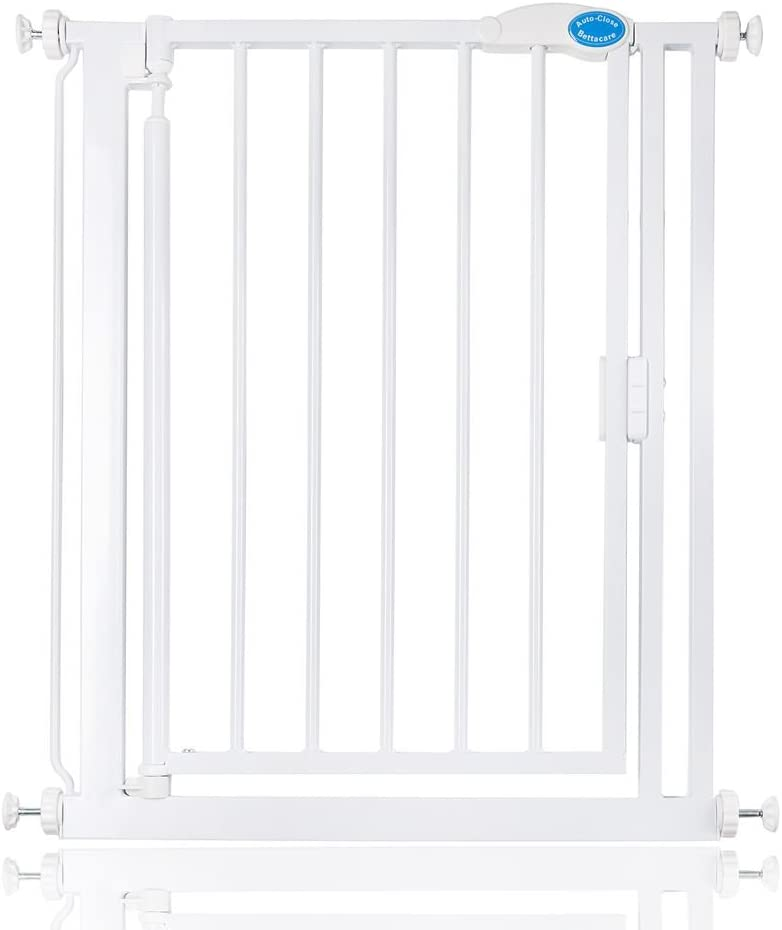 Bettacare Auto Close Child Baby Gate White Narrow Baby Stair Barrier 68.5-75cm