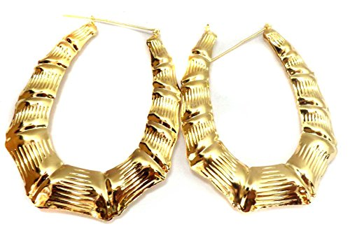 Long Large Hoop Earrings Bamboo Earrings Gold or Silver Tone Hip Hop Jewelry (gold)