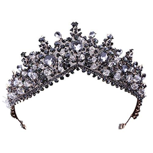 (Black Large Big Vintage Crystal Princess Queen Diadem Rhinestone Bridesmaid Bride Crowns and Tiaras for Wedding)