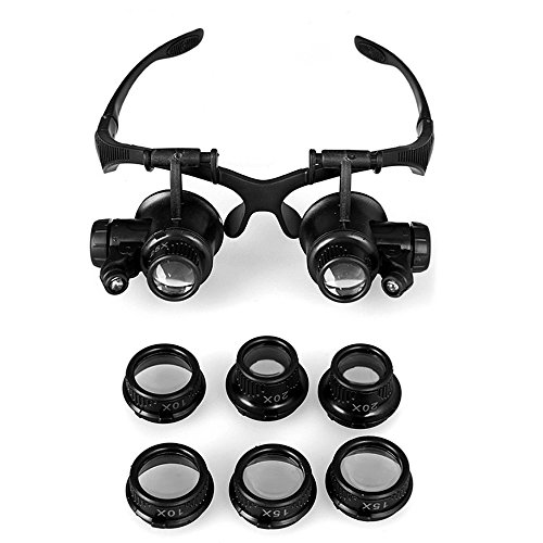 GuDoQi Watch Repair Magnifier Head Mount Magnifier with LED Light Double Eye Loupe Jeweler Magnifying Glasses with Replaceable Lenses (10X 15X 20X 25X)
