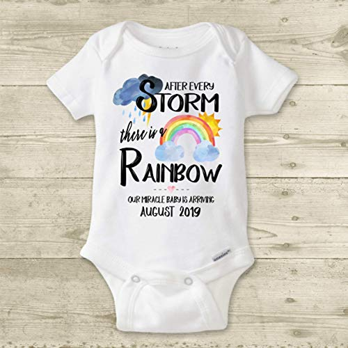 Design Personalized Announcement - Rainbow Baby Bodysuit, IVF Miracle Baby, PERSONALIZED Custom Pregnancy Announcement Reveal IVF Warrior After Every Storm There is a Rainbow