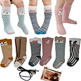 Yaobabymu 6 Pairs Unisex Baby Girls Boys Socks Toddler Cartoon Animal Knee High Stockings Anti Skid Slip Socks Tube Long Socks (2-4 year)