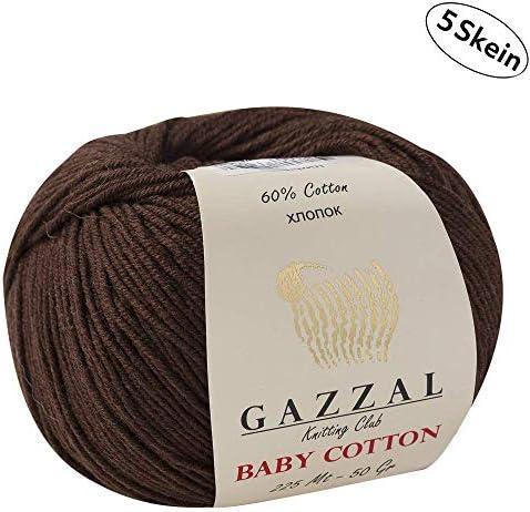 Gazzal Baby Cotton - 5 Ovillos de hilo para tejer 60 % algodón suave y fino para prendas de bebé, madejas de 50 g y 165 m Marrón - 3436: Amazon.es: Hogar