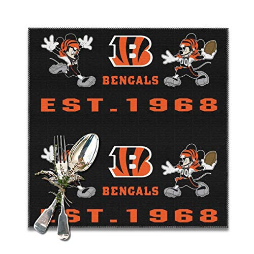 Jerrymoaus Cincinnati Bengals Cartoon Table Mat Heat-Resistant Table Mat Non-Slip Washable Polyester Kitchen Table Mat Set of 6