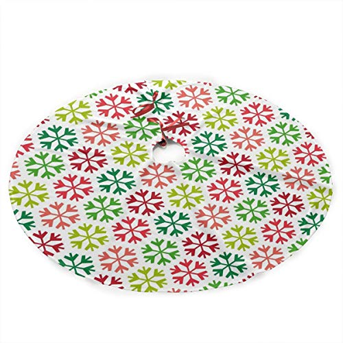 Grtswp Luxury Soft Snow Christmas Tree Skirt Printable Christmas Holiday Print Tree Skirt Holiday Ornament (Diameter :90 Cm/35.5 Inch) ()