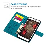 Note 4 Case, Galaxy Note 4 Case - MOLLYCOOCLE Natural Luxury Blue Stand Wallet Purse Credit Card ID Holders Design Flip Folio TPU Soft Bumper PU Leather Ultra Slim Fit Cover for Samsung Galaxy Note 4