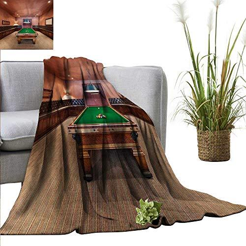 "homehot Modern Blanket Sheets Entertainment Room in Mansion Pool Table Billiard Lifestyle Photo Print All Season Premium Bed Blanket 55"" Wx55 L Cinnamon Brown Green"