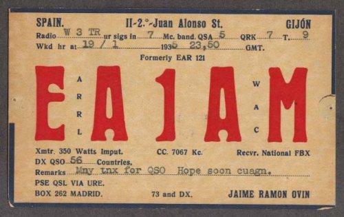 Amazon.com: EA1AM Jaime Ramon Ovin Gijon Spain QSL card 1935 ...
