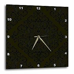 3dRose dpp_78408_3 Large Black on Deep Green Diamond Shaped Lacey Damask Wall Clock, 15 by 15-Inch