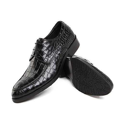 Casual Wedding Zorgen Rubber Shoes Black Sole Dress Mens up Genuine Oxfords Embossing Shoes Leather Lace 5rHqPrx8