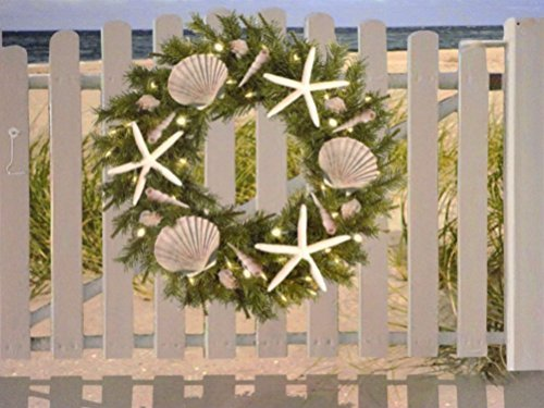 LED-Lighted-Seahsells-and-Starfish-Wreath-on-Beach-Front-Gate-Canvas-Print