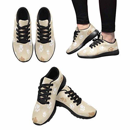 InterestPrint Womens Trail Running Shoes Jogging Lightweight Sports Walking Athletic Sneakers Dog Paw Prints With Brown Color Multi 1 cUCr0zqQP