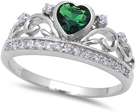 Simulated Emerald Heart & Cz Crown .925 Sterling Silver Ring Sizes 4-11