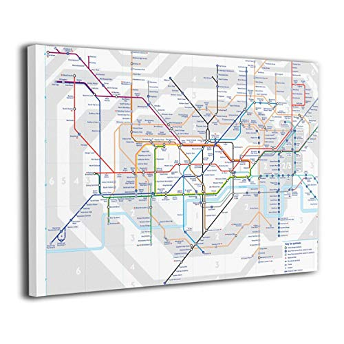 Pantsing Canvas Wall Art Prints London Underground Map Tube Lines -Picture Paintings Modern Decorative Giclee Artwork Wall Decor-Wood Frame Gallery Wrapped 12
