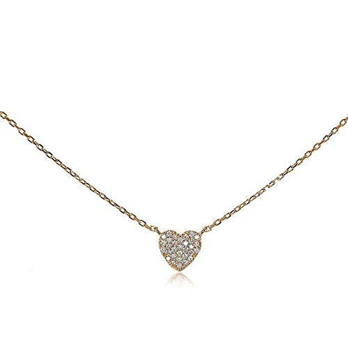 62ad423aec4 Rose Gold Flashed Sterling Silver Cubic Zirconia Heart Tiny Choker Necklace