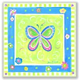 The Kids Room by Stupell Blue Butterfly with Green Border Square Wall Plaque: more info