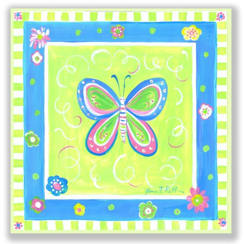 The Kids Room by Stupell Blue Butterfly with Green Border Square Wall Plaque