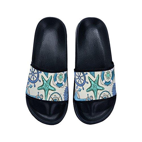 Secado para World Sea Mujer de Antideslizantes Zapatillas Rápido Negro Slippers 0HqZwXw