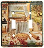 3dRose lsp_167215_2 Home Cooking and Country Art, Apple Pie and Kitchen Art Double Toggle Switch