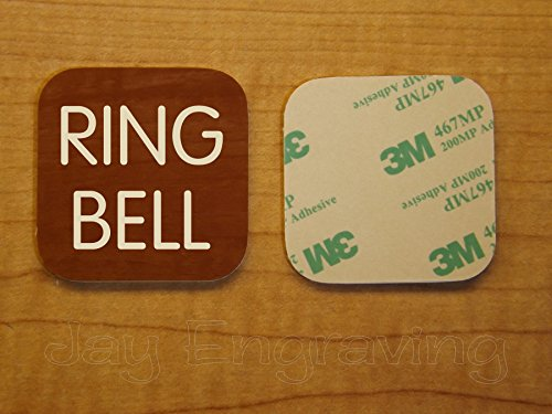 Engraved 2x2 RING BELL Wood Grain Finish Plastic Plate | Door Bell Tag Sign | Adhesive Back | Engraving Small Business Home Office Wall Plaque Doorbell Home Security Sign Placard (Mahogany) ()