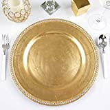Efavormart 13'' Round Gold Crystal Beaded Acrylic Charger Plates Party Dinner Servers Dinner Chargers for Tabletop Decor- Set of 24
