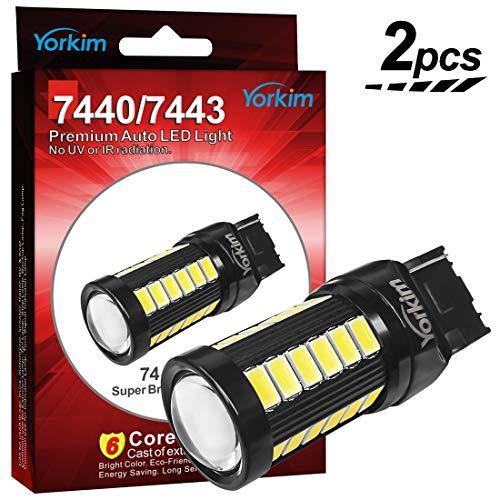 Yorkim Ultra Bright T20 7440 W21W LED Bulbs Super White Light Bulbs for Reverse Light, Back Up Light, Brake Light, 5730 Chipsets 33SMD - Pack of 2, White