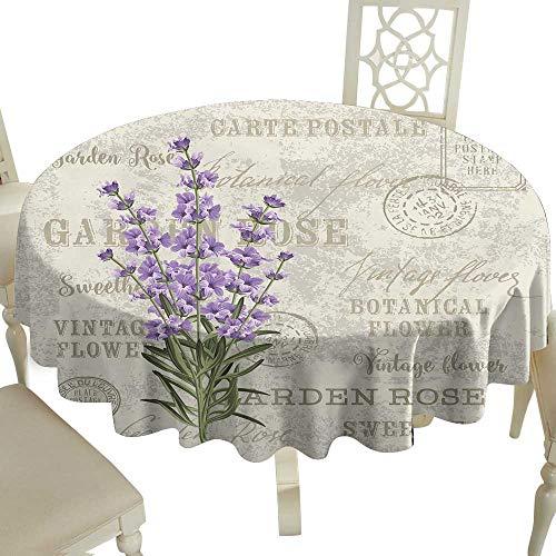 Cranekey Vintage Round Tablecloth 36 Inch Lavender,Vintage Postcard Composition with Grunge Display and Flowers,Lavender Reseda Green Beige Great for,restauran & More