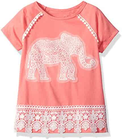 Dream Star Girls' Short Sleeve Top with Crochet Elephant Applique and Crochet