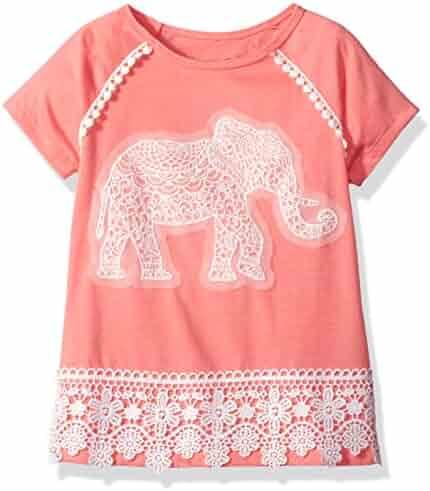 Dream Star Girls' Short Sleeve Top with Crochet Elephant Applique and Crochet
