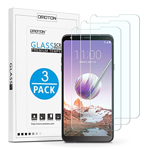 OMOTON LG Stylo 4 Screen Protector [3 Pack]- [9H Hardness] [2.5D Rounded Edges] [Crystal Clear] [Bubble Free] Tempered Glass Screen Protector for LG Stylo 4 2018