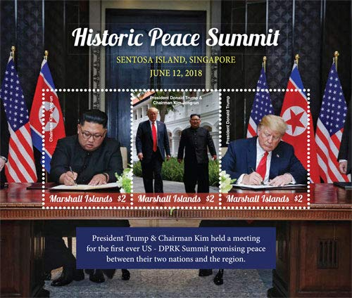 - President Trump and Chairman Kim - Historic Peace Summit - Limited Edition Collectors Stamps - Marshall Islands
