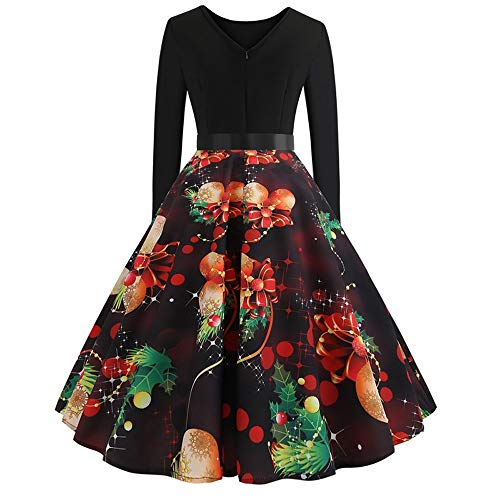 Party Gonna lunga Girocollo Manica Dress Print Natale Gonna Donna Strir Abiti Vintage H Nero 1zwIYY