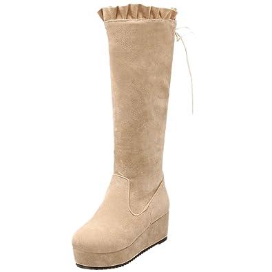 TAOFFEN Damen Comfortable Platform Boots Keilabsatz Langschaft Stiefel (43 EU, Fur Black)