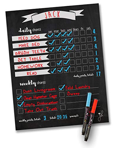 Jennakate Magnetic Chalkboard Design Child Behavior Reward Chore ChartDaily Household Chore ChecklistJob Chart Dry Erase 11quotx14quot Dry Erase Markers