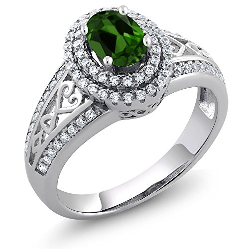 Gem Stone King Green Chrome Diopside 925 Sterling Silver Women's Ring 1.31 Ctw Oval (Size 6) ()