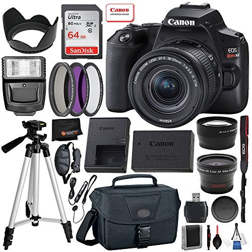 Canon EOS Rebel SL3 DSLR Camera (Black) with 18-55 is STM – 3453C002 USA – 20pc Professional Bundle: Includes – 64GB SanDisk Highspeed Memory Card + Professional Camera Bag + 3pc Filter Kit + More