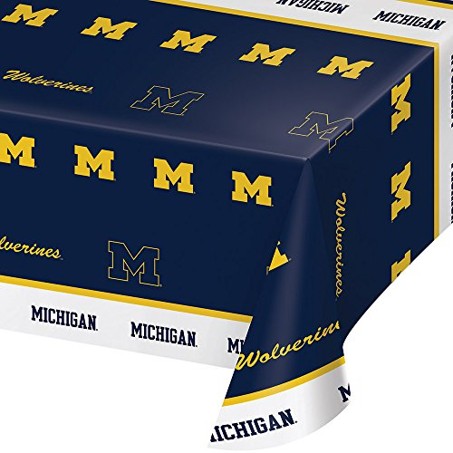Creative Converting Michigan Wolverines Plastic Table Cover, 54