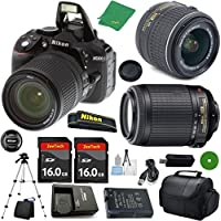 Nikon D5300 - International; Version (No Warranty), 18-55mm f/3.5-5.6 DX VR, Nikon 55-200mm f4-5.6G VR, 2pcs 16GB Memory, Camera Case