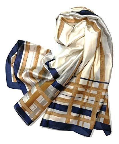 Shanlin Silk Feel Long Satin Patterned & Solid Color Scarves for Women (stripes-brown)