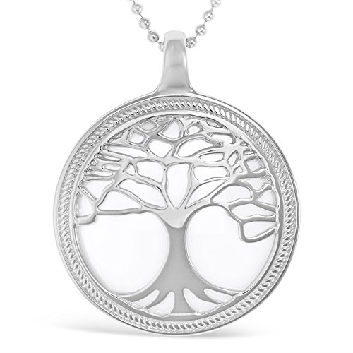 Amorucci Sterling Silver Lunetta Pendant. Rhodium plated with White Ceramic insert. Complete with Ball Chain. Spoil yourself or buy someone special a unique gift of the Tree Of Life.