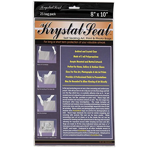 Creative Mark Krystal Seal Art and Photo Bags - Resealable Archival Storage Bags Art Sleeves Plastic Bag Used For Protecting Artwork Resealable With Adhesive Strip - [25 Pack - 8 (Krystal Seal Bags)